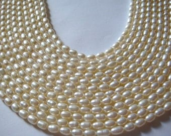 "P2. Fresh Water Pearl 4.5 - 5mm White Rice Shape 16"" Inches"
