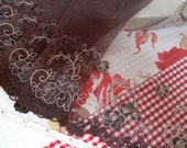 Lace trim, brown lace, embroidered tulle net lace, bridal lace, lingerie fabric, doll trim, 3 yards BN048