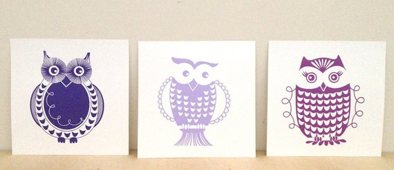 Set of Purple Owls - Art for your Nursery