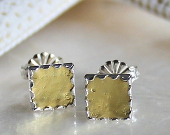 Sterling Silver and Pure 22kt Gold Square Post Earrings - Eco Friendly and Nickel Free Recycled Precious Metals Ready to Ship