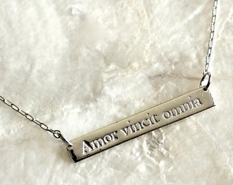 Fine and Sterling Silver Inspiration Necklace - Choose Your Favorite Saying - Eco Friendly