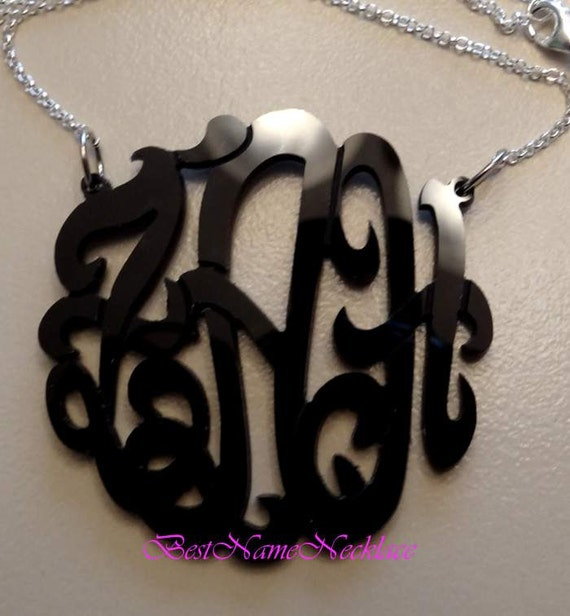 Statement Acrylic Monogram Necklace, Initial Monogram, with ROLO sterling silver chain,choose from 24 colors