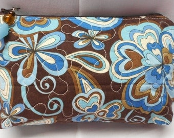 Zipper Pouch Bag Mod  Blue and Brown - Glass Beads Zipper Pull - Handmade by SEW FUN QUILTS