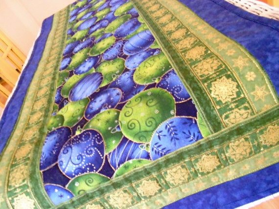 Christmas Table Runner Quilt - Blue Green Christmas Ornaments with Gold Accents