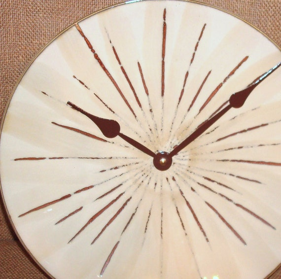 Wall Clock in Brown and Tan - Fireworks - Ceramic Plate Wall Clock No. 904 (11-1/2 inches)