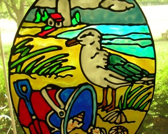 Seagull, lighthouse,seashells, ocean, beach, nautical stained glass window cling