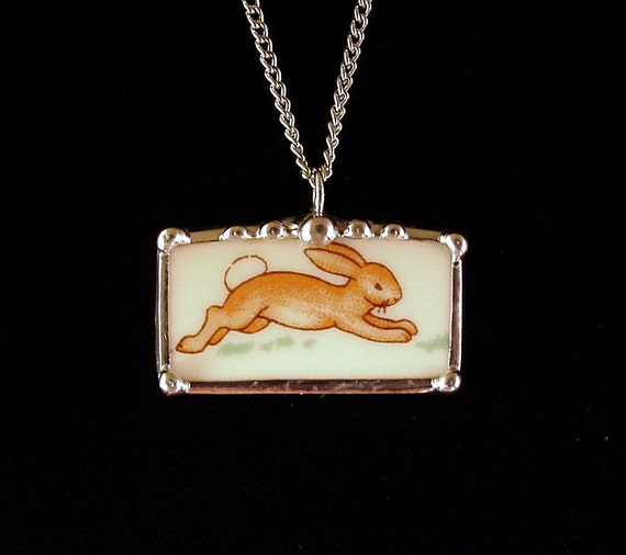 Bunnykins running bunny rabbit broken china jewelry necklace pendant