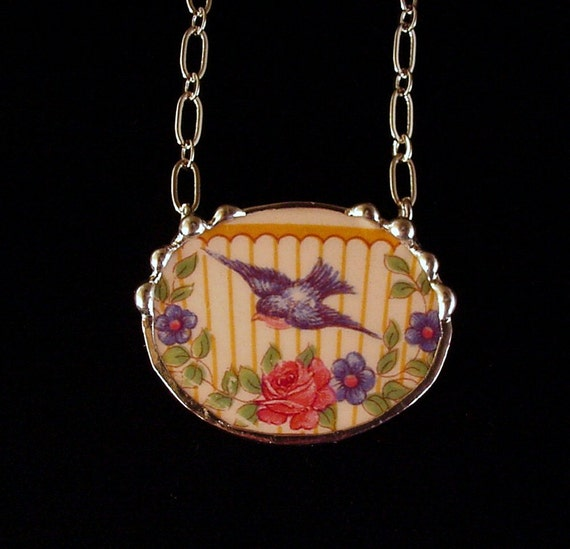 Broken china jewelry necklace bluebird rose forget me not made from an antique broken plate