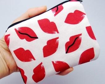 Hot lips - Zipper pouch / coin purse / card bag (padded) (ZS-29)