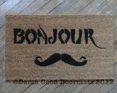 Mustache French Welcome door mat Bonjour- Good Day Art Nouveau