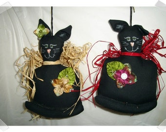 Black Cat Ornaments/ Whimsical/ Single OR Set of 2*/Handmade**