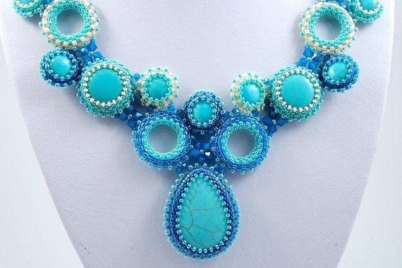 Lake Kineret  Necklace, Turquoise Blue, Swarovski Beadweaving Necklace, OOAK