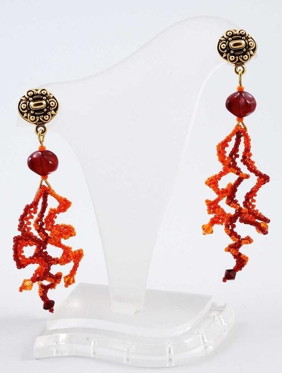Red Orange Beadweaving Earrings, Free Shipping