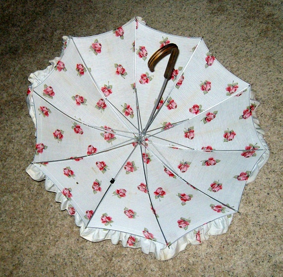 vintage PK Umbrella Saks Fifth Avenue parasol - ruffled cotton roses and stripes ticking style fabric  wood handle circa 1950's