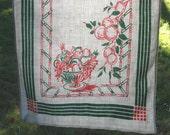 Green and Pink linen tea Towel, Fruit bowl design