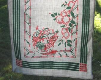 SALE Green and Pink linen tea Towel, Fruit bowl design