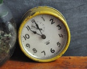 Vintage Gilbert Clock For Parts or Decor Rustic Yellow Industrial Design
