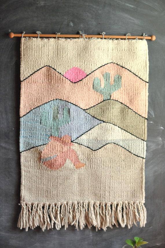 Vintage Southwest Woven Wall Hanging Fiber Art