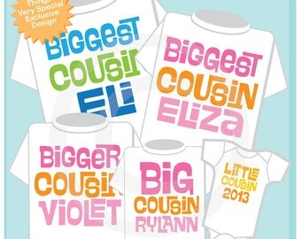 Set of Five Cousin Tees or Oneises in any combination of boys and girls (10272012a)