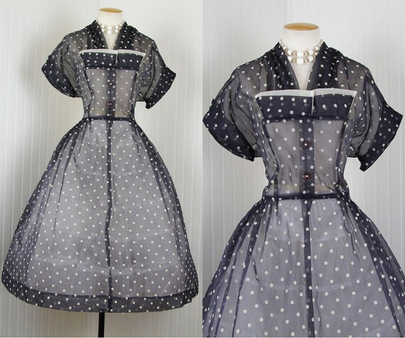 1950s Dress - Vintage 50s Navy White Organdy Flocked Polka Dots New Look Party Tea Dress l xl - LA LUCY