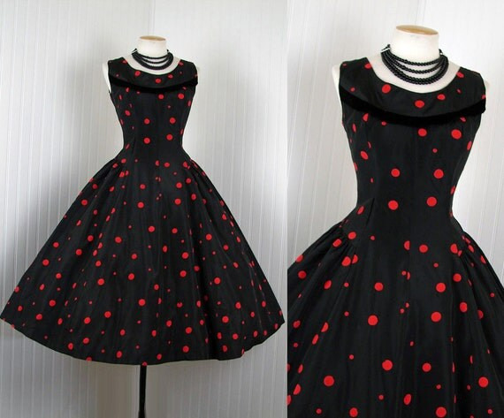 1950s Dress - Vintage 50s Black Red Flocked Polka Dots New Look Taffeta Party Dress s m - SILENCE OVER MANHATTAN