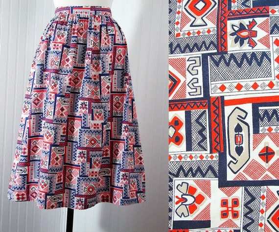 1950s Skirt RING A DING Vintage Red White Blue Patriotic Cotton Full Skirt w Crazy Atomic Native Print m