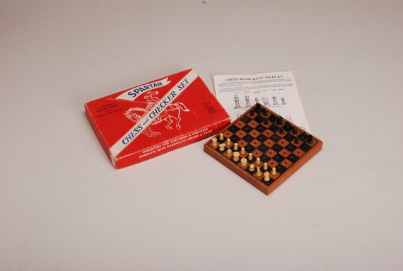 Vintage Miniature chess and checkers set  in original box free shipping