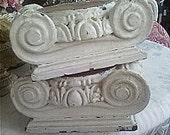 Reserved for Pilar A, Antique Architectural Salvaged Solid Wood Capital Column Pair