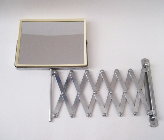 Vintage Mod Scissor Accordion Arm 2 Sided Wall Mirror