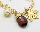 Gemstone bracelet, Garnet, pearl and gold filled leaf bracelet