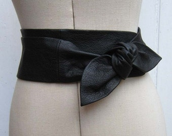 Black leather petal wrap bow belt