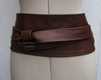 Oak brown luxury leather obi belt