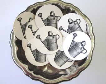 Watering Can Tags Round Gift Tags Set of 10