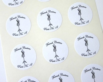 Dressform French Couture Stickers One Inch Round Seals