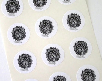 Peacock Stickers One Inch Round Seals