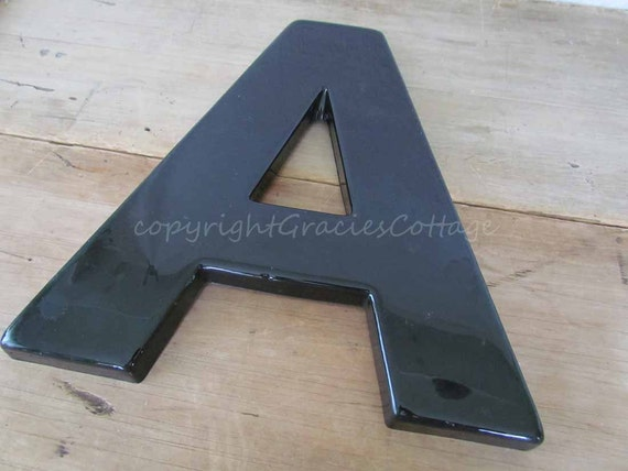 Letter A  - 15 Inch Shiny Black Sign Letter  -  A63