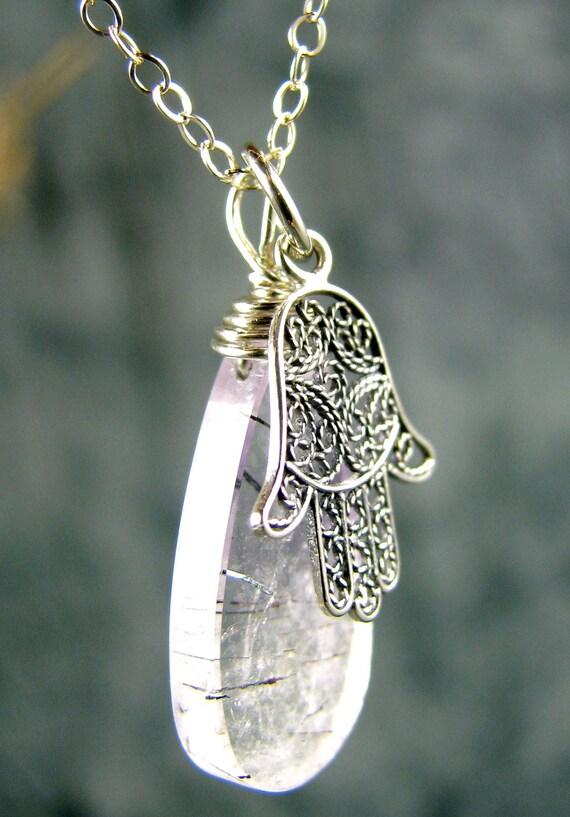 hamsa hand charm necklace yoga jewelry healing gemstone, rutilated amethyst