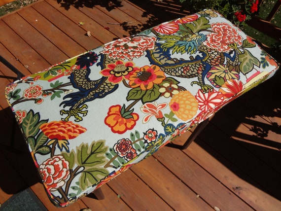 "Bench Seat Cushion, 43"" x 18.75"" x 2"", Custom, Made to Order, use your own fabric, includes foam. double piping, and zipper."