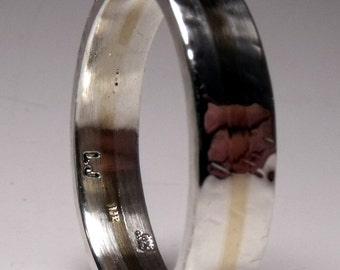 14K Yellow Gold and Sterling Silver 2 Tone Mens Band RF480
