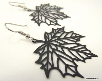 Maple Leaf Skeleton Earrings, Black Earrings, Leaf Earrings, Woodland Jewelry, Gift for her, Unique Gift under 20