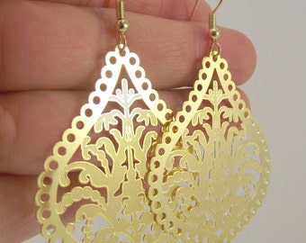 Ornate Golden Filigree Teardrop Earrings, Gold Earrings - LAST PAIR