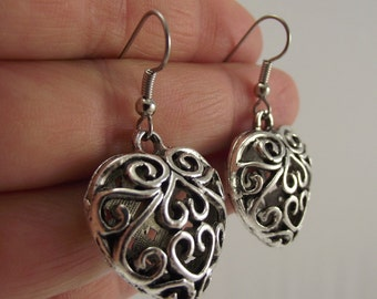 Puffed Silver Filigree Heart Earrings, Pewter Earrings, Antiqued Silver Earrings, Love, Valentine's Day, Gift for her, Gift under 25