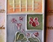 HOW Does Your GARDEN GROW handcarved ceramic-watercolor pin brooch original design brooch by Wisconsin watercolor artist