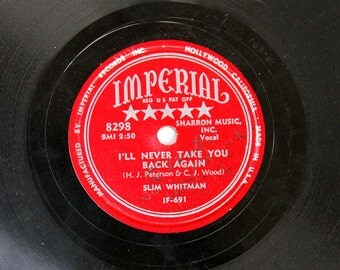 Slim Whitman - Signed Autographed Record - I'll Never Take You Back Again - Imperial - Collectible - 1950s