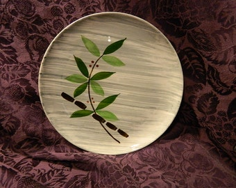 Vintage Stetson Plate, 1955 China Rio SST136 Bamboo Red Berries Gray Brush Strokes, Hand Painted: Lucky Bamboo