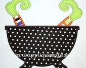 168 Witch Pot Machine Embroidery Applique Design
