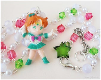 Sailor Jupiter Necklace, Figure Pendant on Beaded White Pink and Green Rosary Chain - Anime, Sailor Moon