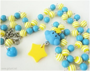 Thunder Cloud Super Mario Kart Necklace, Beaded Bright Blue and Yellow Rosary Chain, Silver Plated