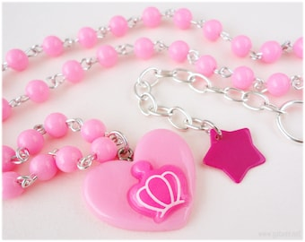 Bubblegum Pink Heart Necklace with Fuschia Crown Silhouette, Silver Plated, Beaded - Oshare Kei