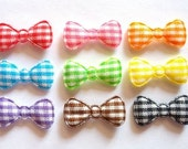 100 pcs - Gingham Bow Ribbon Padded Appliques - size 10 x 20 mm